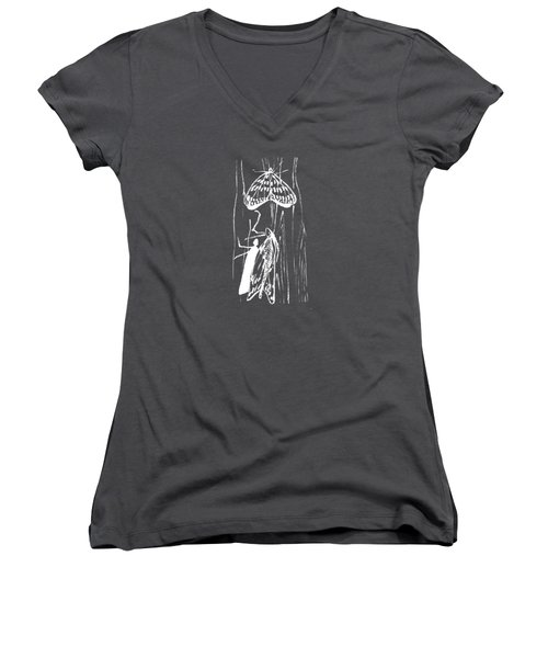 white lines on transparent background - detail - 5.4.Japan-1-butterfly-and-walkway Women's V-Neck (Athletic Fit)