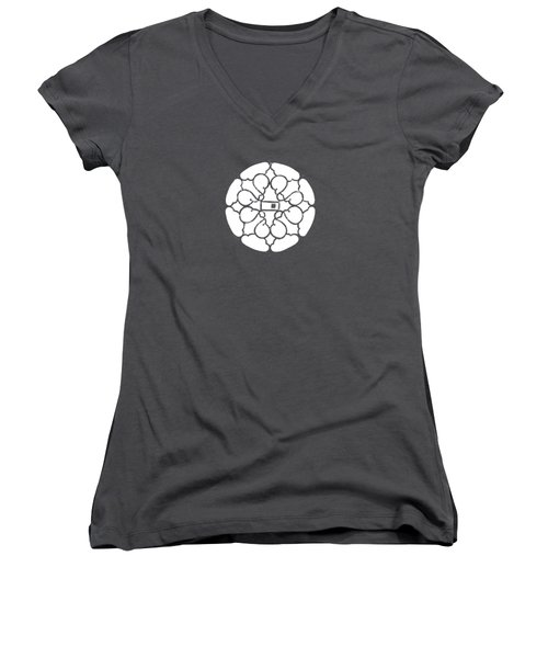 white lines on transparent background - detail - 7.10.USA-3-detail-b Women's V-Neck (Athletic Fit)