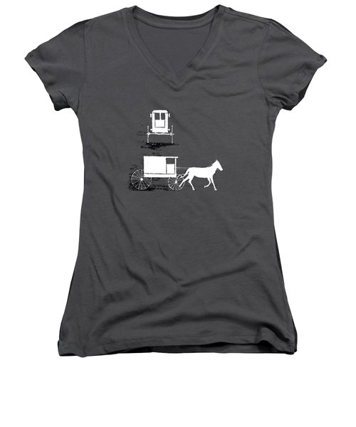 white lines on transparent background - detail - 7.2.USA-1-detail-a Women's V-Neck (Athletic Fit)