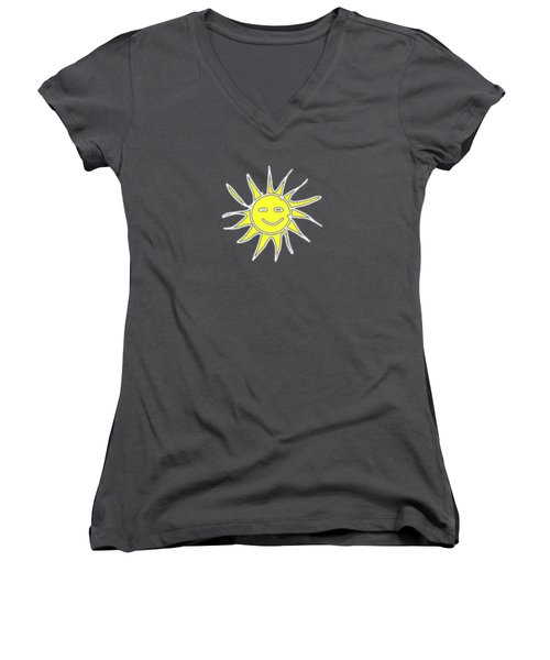 white lines on transparent background - detailv3-10.3.Islands-1-detail-Sun-with-smile Women's V-Neck (Athletic Fit)