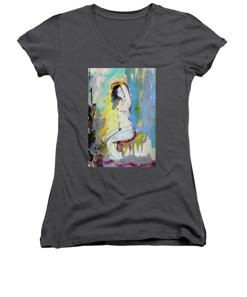 White Nude And Bird Women's V-Neck T-Shirt