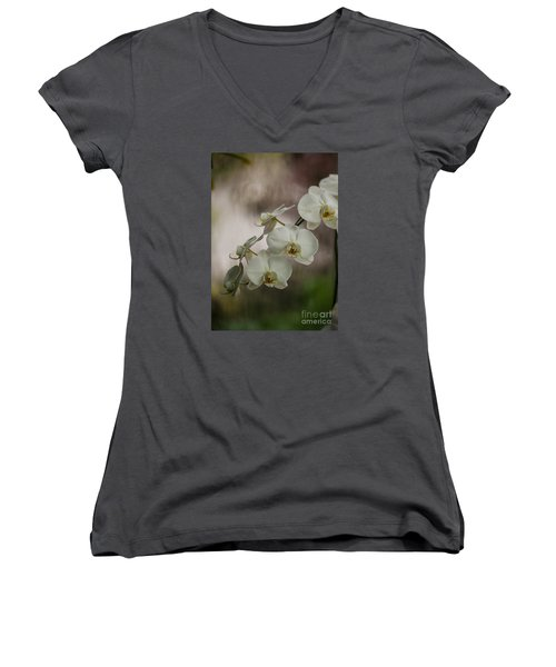 White Of The Evening Women's V-Neck T-Shirt (Junior Cut) by Mike Reid