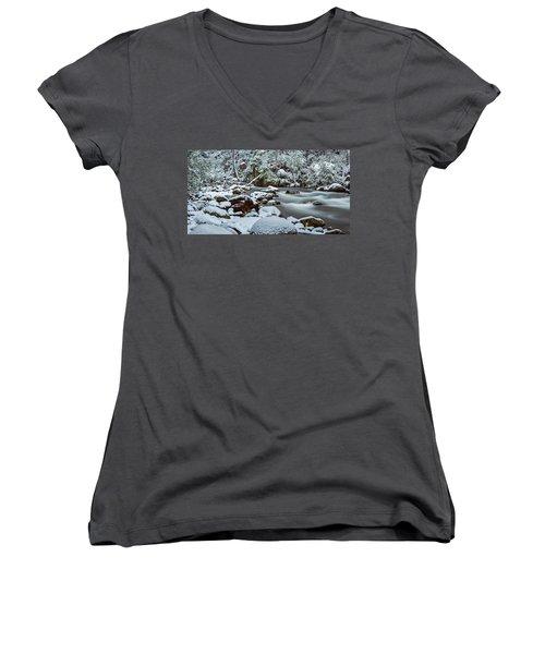 White On Green Women's V-Neck T-Shirt (Junior Cut) by Mark Lucey