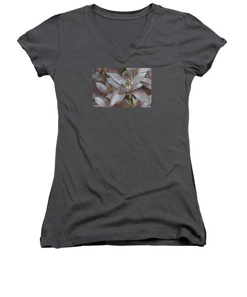 White Orchid Flower Women's V-Neck (Athletic Fit)