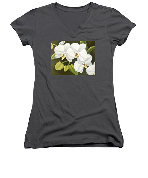White Orchid Women's V-Neck T-Shirt (Junior Cut) by Inese Poga