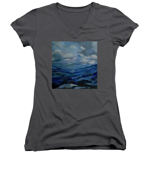 Women's V-Neck T-Shirt (Junior Cut) featuring the painting White Pass by Anna  Duyunova