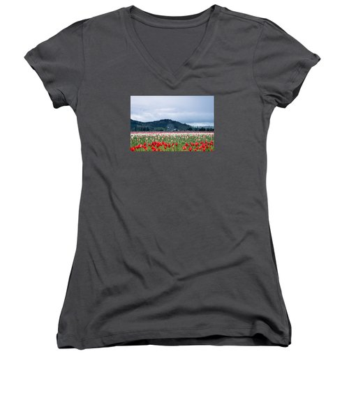 White Pass Highway With Tulips Women's V-Neck T-Shirt (Junior Cut) by E Faithe Lester