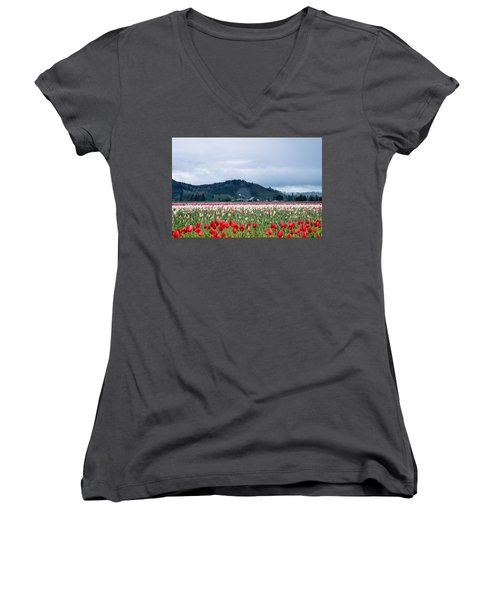 White Pass Highway With Tulips Women's V-Neck