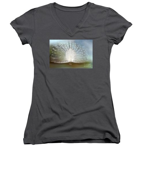 Women's V-Neck T-Shirt (Junior Cut) featuring the photograph White Peacock In All His Glory by Bonnie Barry