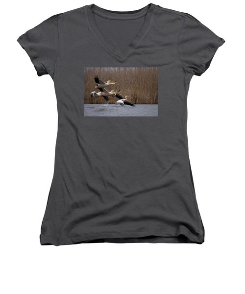 White Pelicans In Flight Over Lake Women's V-Neck