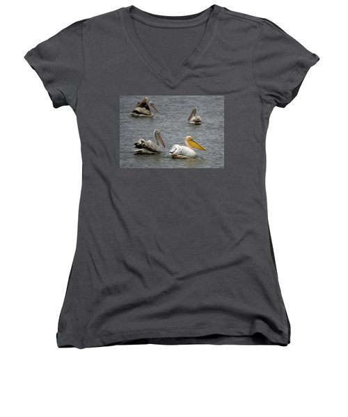 White Pelicans On Lake  Women's V-Neck