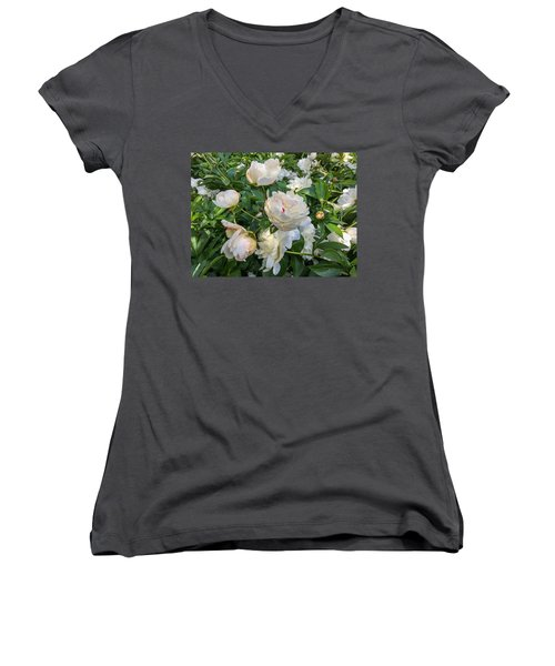 White Peonies In North Carolina Women's V-Neck