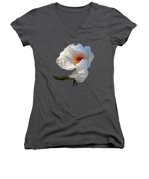 White Peony After The Rain Women's V-Neck T-Shirt (Junior Cut) by Gill Billington