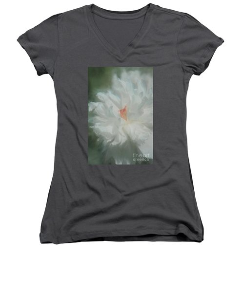 Women's V-Neck T-Shirt (Junior Cut) featuring the photograph White Peony by Benanne Stiens