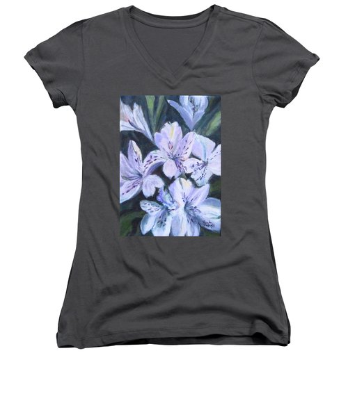 White Peruvian Lily Women's V-Neck (Athletic Fit)
