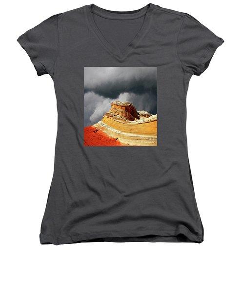 White Pocket 35 Women's V-Neck T-Shirt (Junior Cut) by Bob Christopher