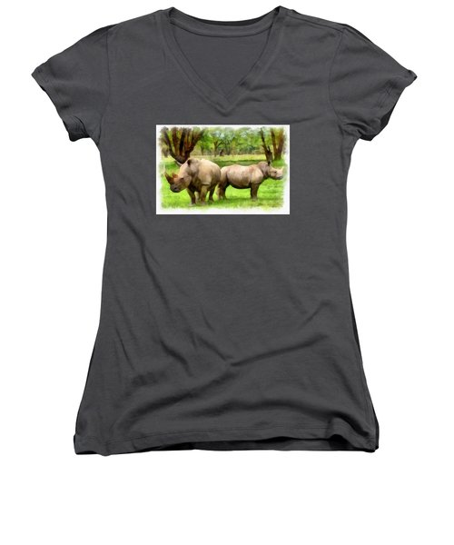 White Rhinos Women's V-Neck T-Shirt (Junior Cut) by Maciek Froncisz