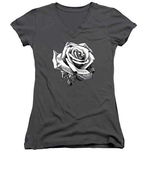White Rose For The Lady Women's V-Neck (Athletic Fit)