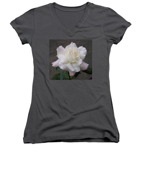 White Rose In Rain - 3 Women's V-Neck T-Shirt (Junior Cut) by Shirley Heyn