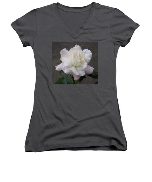 White Rose In Rain - 3 Women's V-Neck (Athletic Fit)