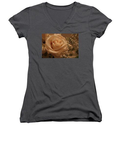 White On White Women's V-Neck T-Shirt