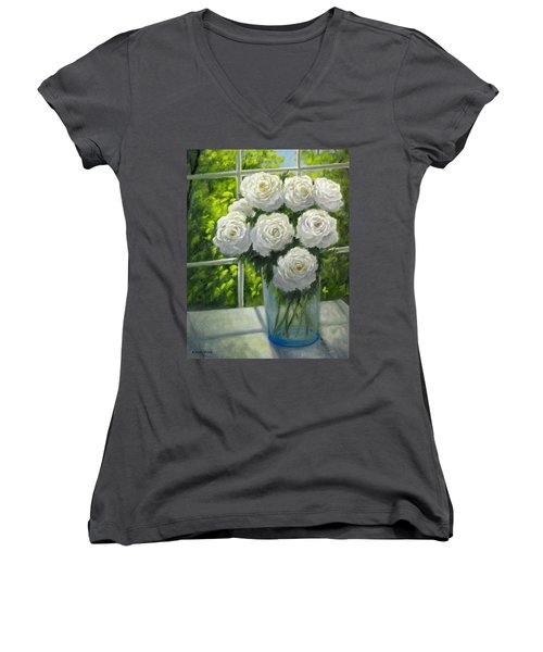 White Roses Women's V-Neck T-Shirt