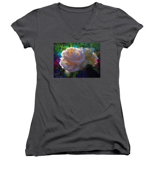 White Roses In The Garden - Backlit Flowers - Summer Rose Women's V-Neck