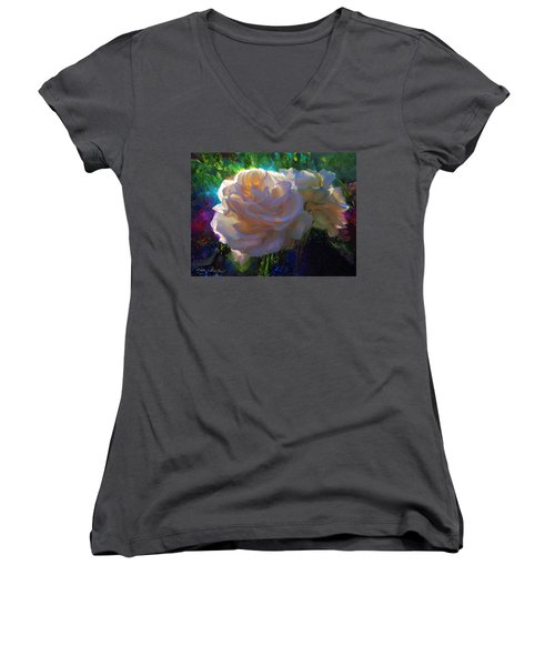 White Roses In The Garden - Backlit Flowers - Summer Rose Women's V-Neck