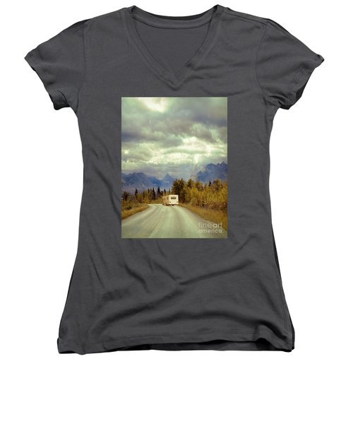 White Rv In Montana Women's V-Neck T-Shirt (Junior Cut) by Jill Battaglia