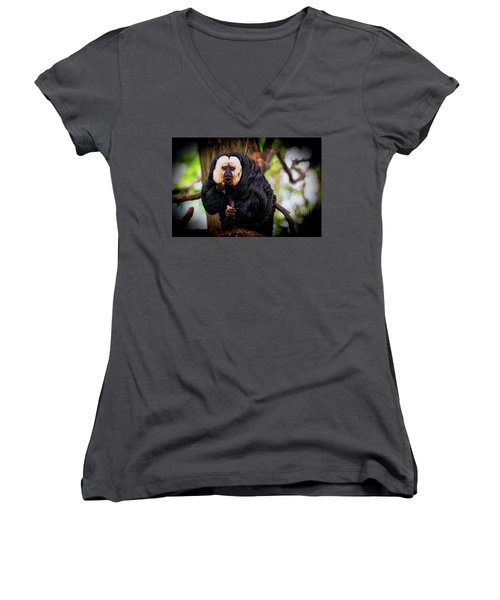 Women's V-Neck T-Shirt (Junior Cut) featuring the photograph White Saki by The 3 Cats