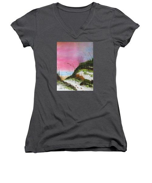 White Sandy Beach Women's V-Neck T-Shirt