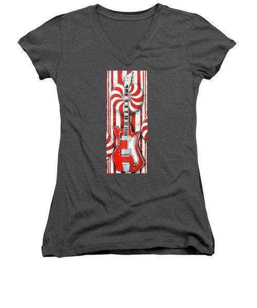 White Stripes Guitar Women's V-Neck (Athletic Fit)