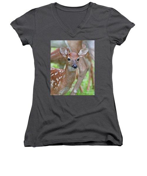 White Tail Deer Fawn Women's V-Neck T-Shirt