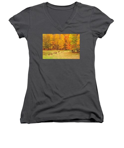 White Tail Deer Herd Women's V-Neck T-Shirt (Junior Cut) by Terri Gostola
