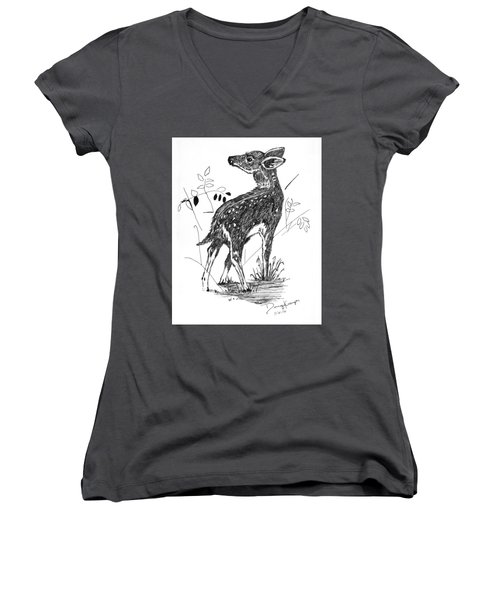 Women's V-Neck T-Shirt (Junior Cut) featuring the drawing White-tail Fawn -pen And Ink by Doug Kreuger