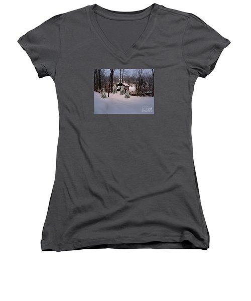 White Tailed Buck At Belmont N H Covered Bridge Women's V-Neck T-Shirt (Junior Cut) by Mim White