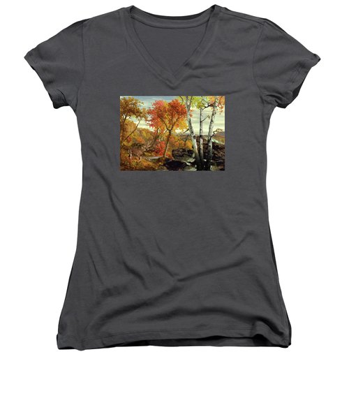White-tailed Deer In The Poconos Women's V-Neck (Athletic Fit)