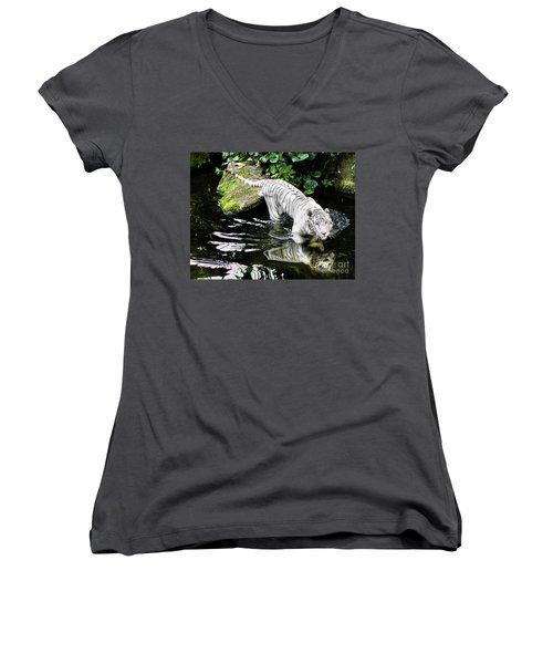 White Tiger Women's V-Neck T-Shirt (Junior Cut) by M G Whittingham