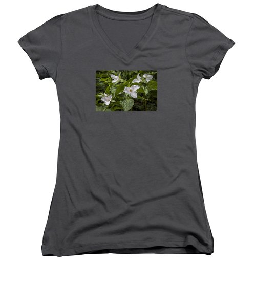 Women's V-Neck T-Shirt (Junior Cut) featuring the photograph White Trillium by Tyson and Kathy Smith