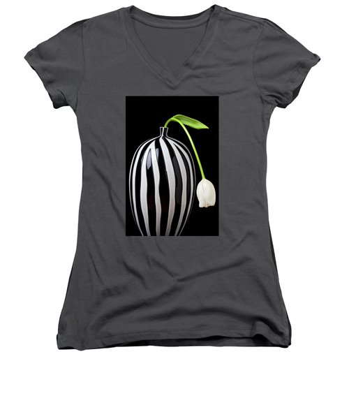 White Tulip In Striped Vase Women's V-Neck T-Shirt (Junior Cut) by Garry Gay