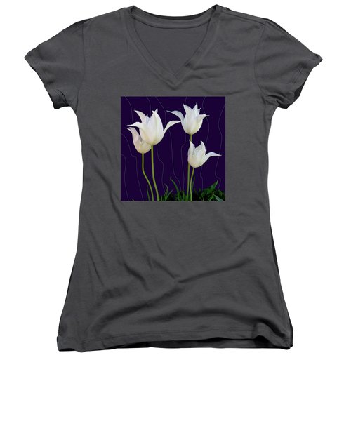 White Tulips For A New Age Women's V-Neck (Athletic Fit)
