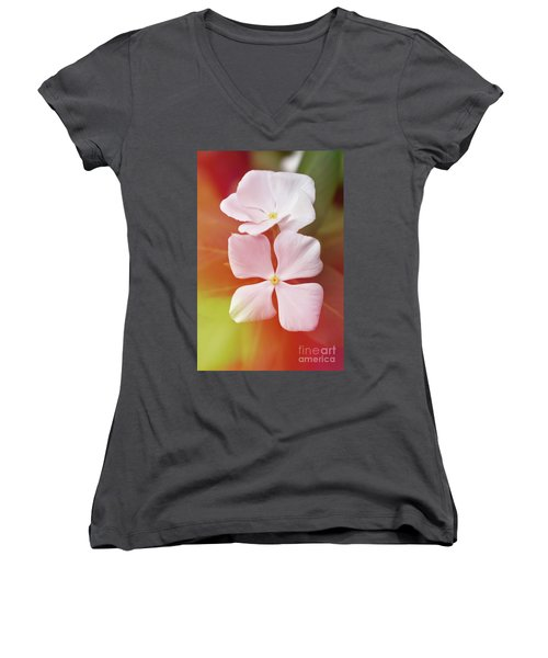 White Vinca With Vivid Highligts  Women's V-Neck