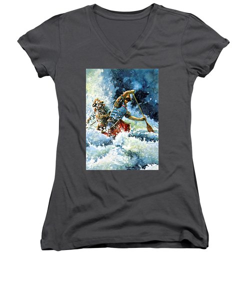 Women's V-Neck (Athletic Fit) featuring the painting White Water by Hanne Lore Koehler