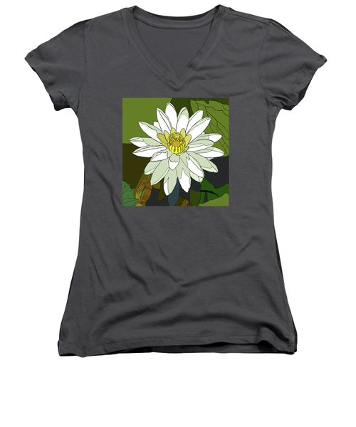 White Water Lily Women's V-Neck T-Shirt (Junior Cut) by Jamie Downs