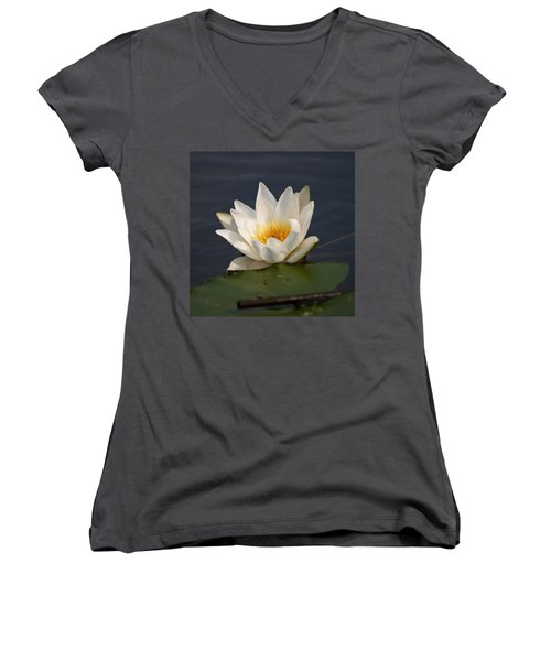 Women's V-Neck T-Shirt (Junior Cut) featuring the photograph White Waterlily 1 by Jouko Lehto