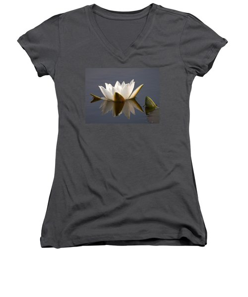 Women's V-Neck T-Shirt (Junior Cut) featuring the photograph White Waterlily 2 by Jouko Lehto
