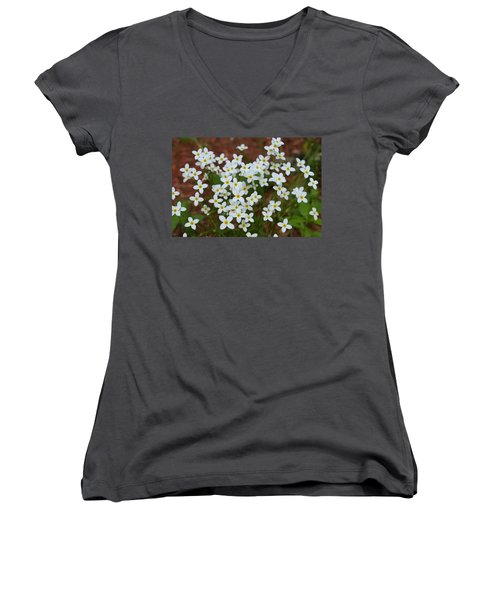 Women's V-Neck T-Shirt (Junior Cut) featuring the digital art White Wildflowers by Barbara S Nickerson
