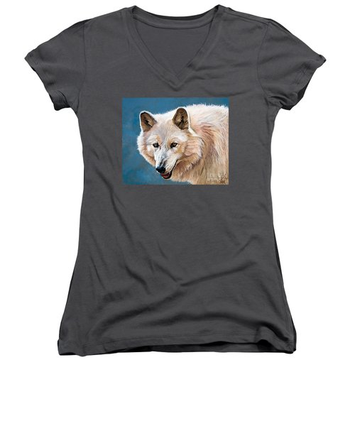 White Wolf Women's V-Neck
