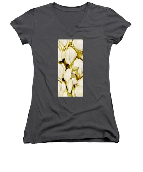 white Yucca flowers Women's V-Neck T-Shirt (Junior Cut) by Werner Lehmann