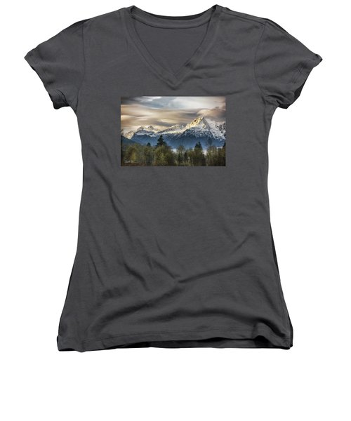 Whitehorse Sunrise, Flowing Clouds Women's V-Neck (Athletic Fit)